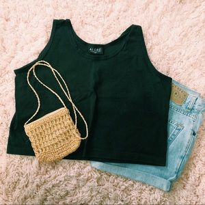 Vintage Black Cotton Crop Top From Alore